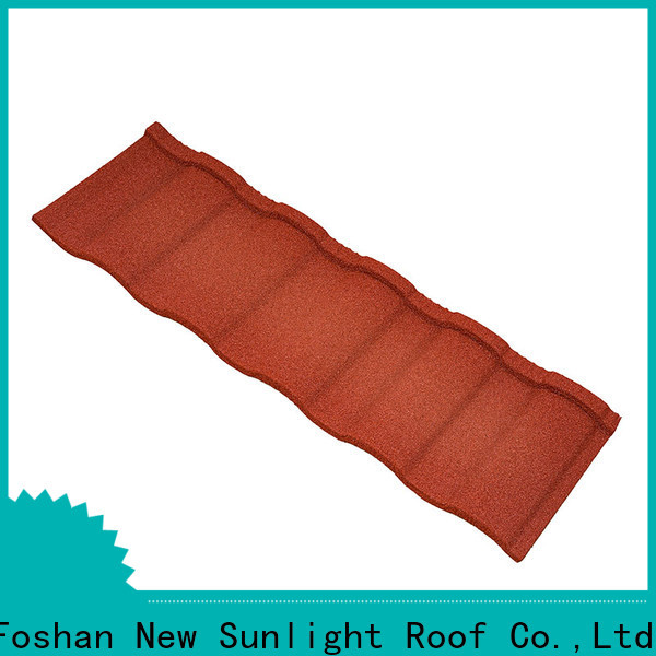 New Sunlight Roof material stone coated steel roofing shingles supply for Supermarket