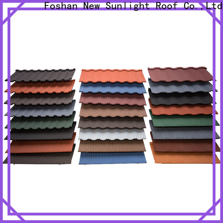 New Sunlight Roof material stone coated roofing tiles china factory for Hotel